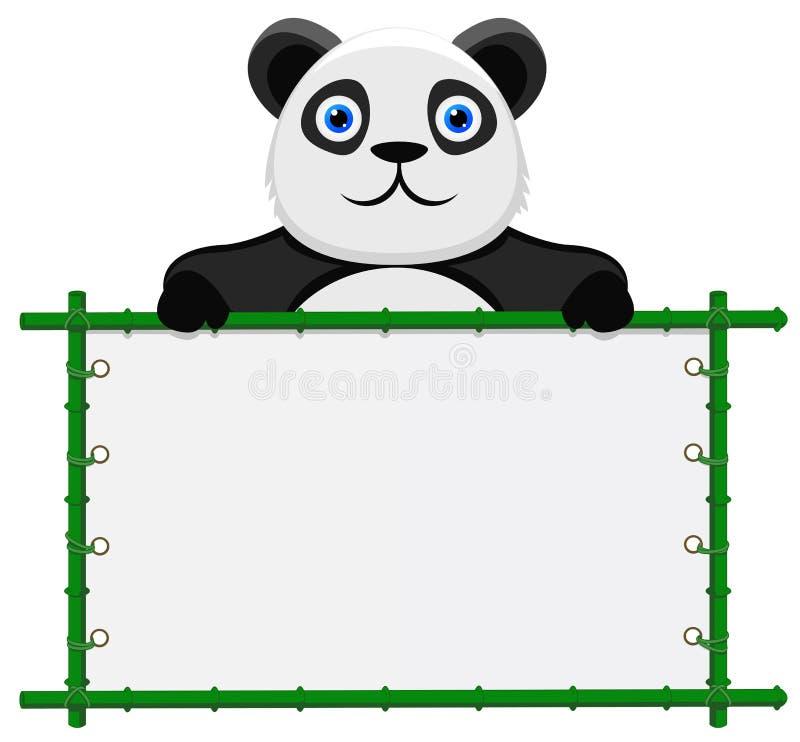 Panda met leeg teken royalty-vrije illustratie