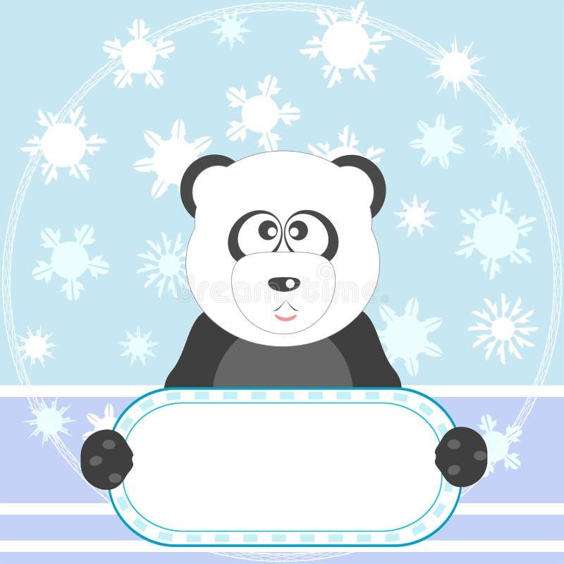Panda met lege spatie en sneeuw vectorachtergrond vector illustratie