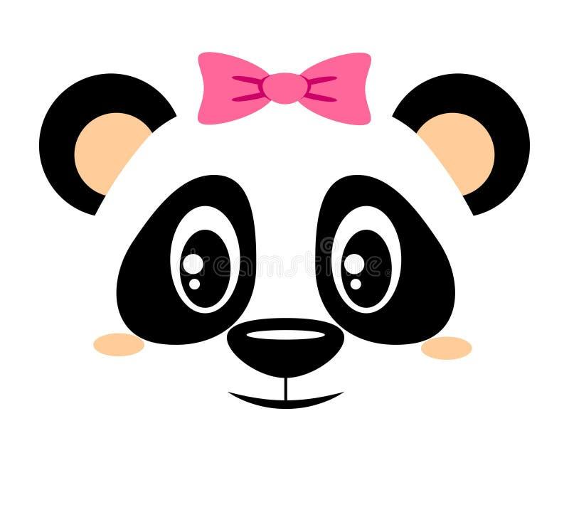 Panda mignon avec l'arc rose Copie de fille avec l'ours de Chinois pour le T-shirt illustration libre de droits