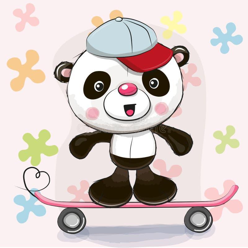 Panda mignon avec la planche à roulettes illustration stock