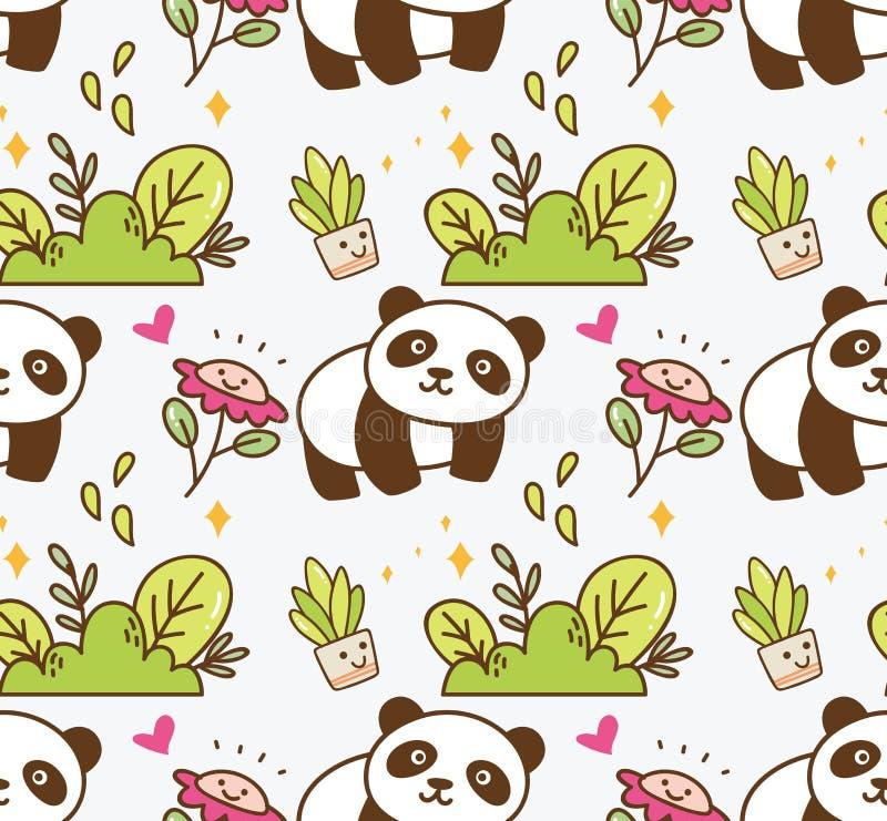 Panda mignon avec le fond sans couture de fleur illustration libre de droits
