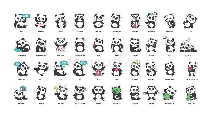 Panda mignon, collection d'autocollants, dans différentes poses, différents modes illustration libre de droits