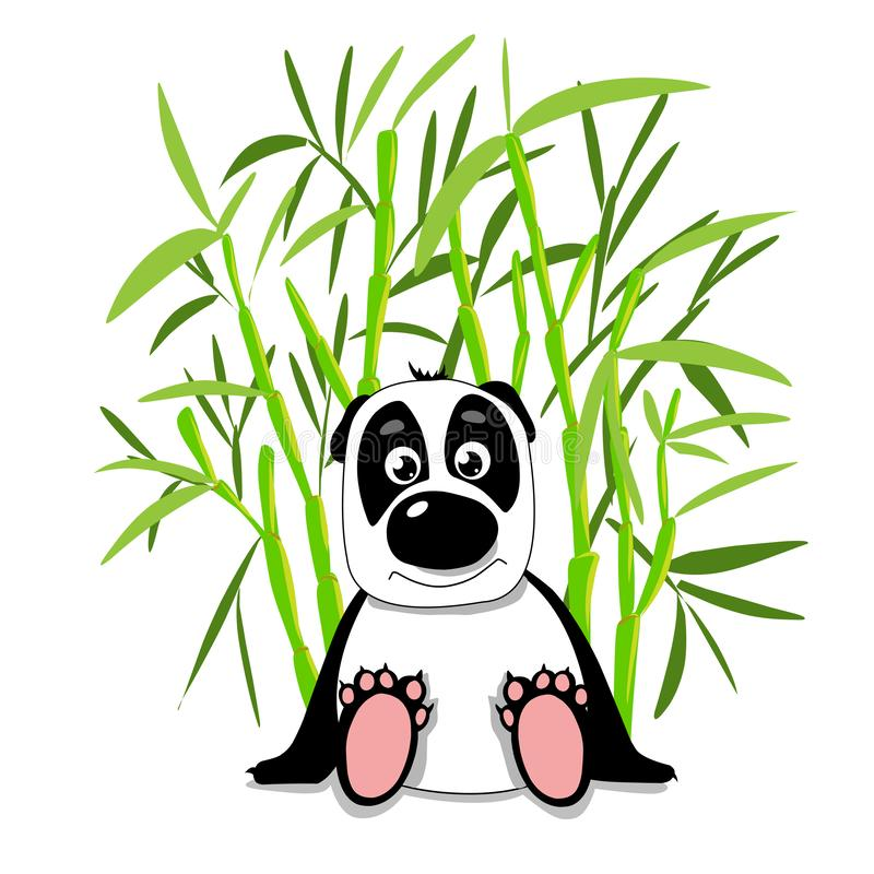 Panda mignon d'illustration d'actions dans la forêt en bambou illustration stock