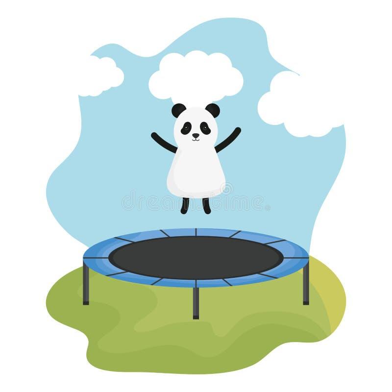 Panda mignon d'ours dans le caractère élastique de trempoline illustration stock