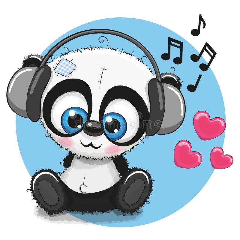 Panda mignon de bande dessinée avec des écouteurs illustration de vecteur