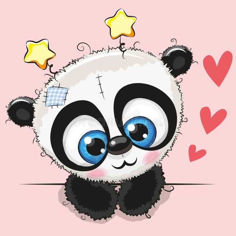 Panda mignon de bande dessinée avec de grands yeux illustration de vecteur