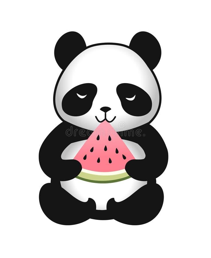 Panda mignon de bande dessinée avec une tranche de pastèque Illustration de vecteur illustration libre de droits