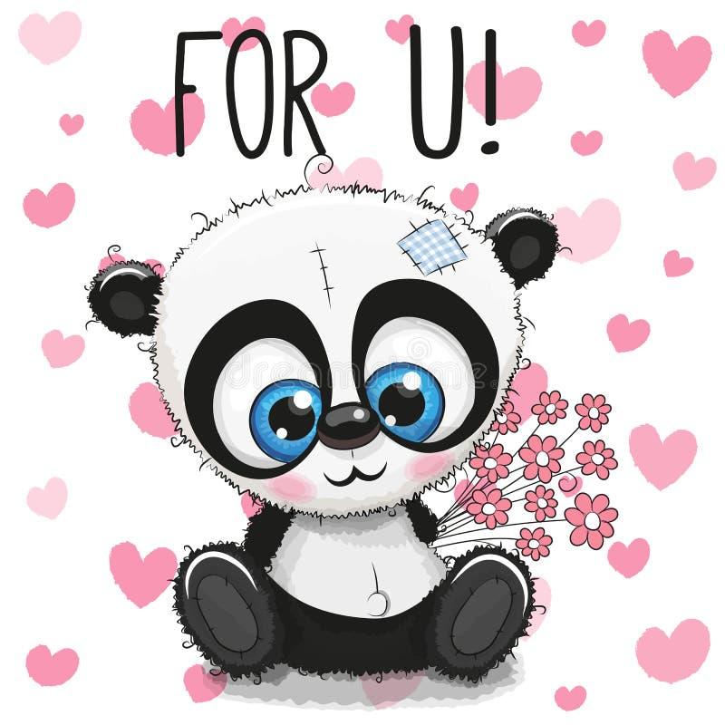 Panda mignon de bande dessinée de carte de Valentine avec des fleurs illustration libre de droits