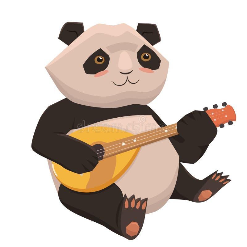 Panda mignon jouant l'ukulélé Isolat sur le fond blanc Dessins de vecteur illustration de vecteur