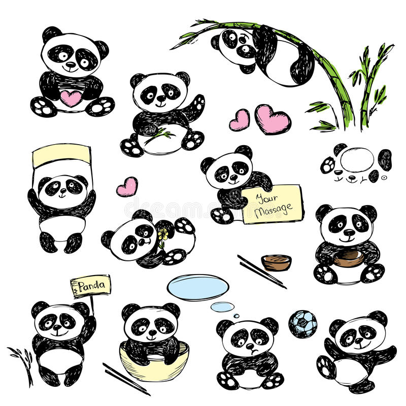 download panda mignon rgl dans diverses poses dessin de main illustration de vecteur illustration - Dessin De Panda Mignon