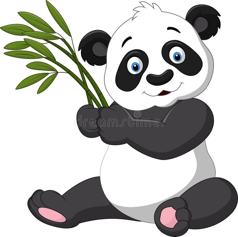 Panda mignon tenant le bambou illustration libre de droits