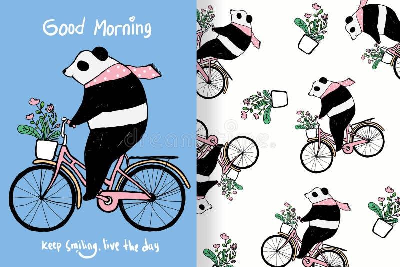 Panda mignon tiré par la main avec les modèles editable illustration stock