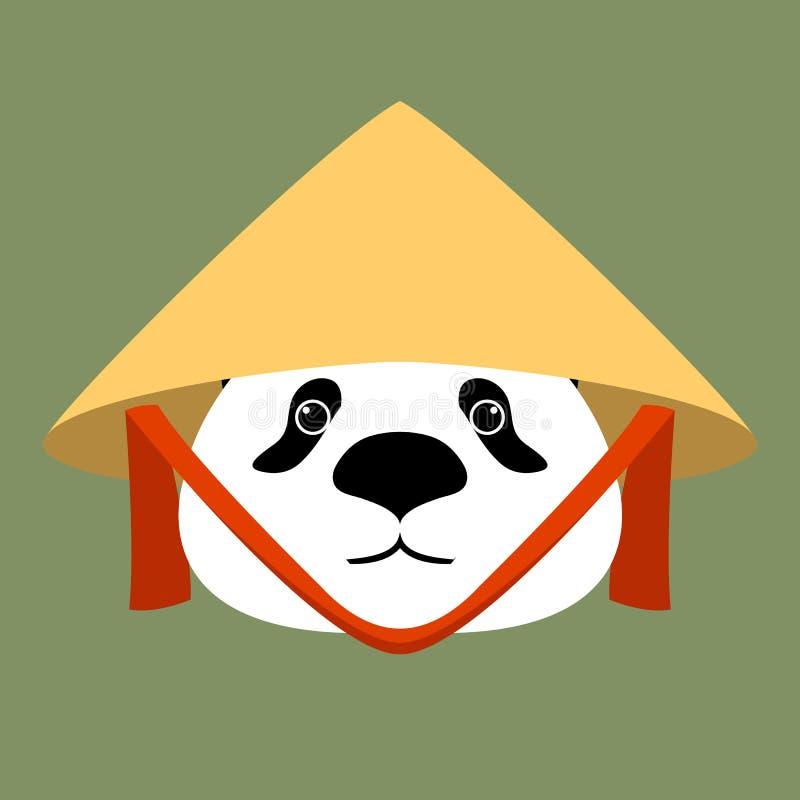 Panda mit alter chinesischer konischer Strohhutvektorillustration lizenzfreie abbildung