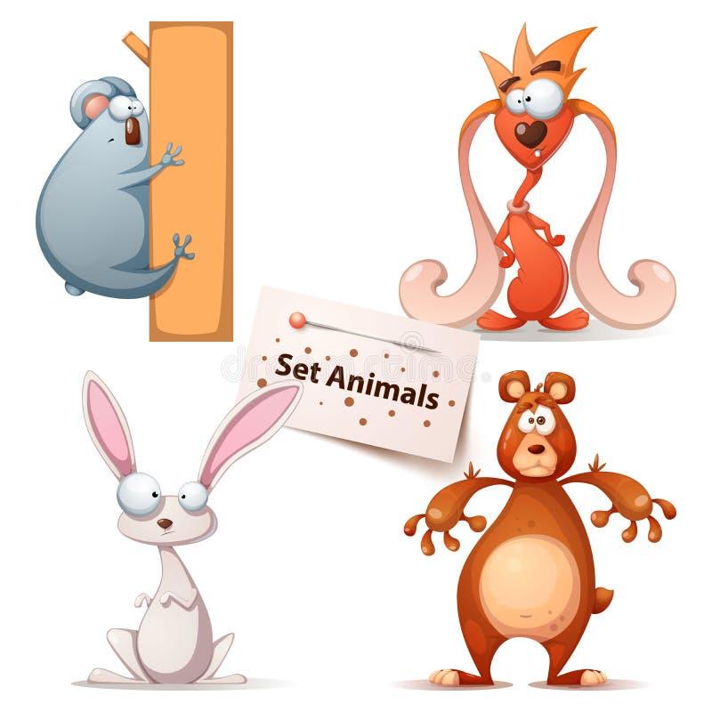Panda, monstre, lapin, ours - animaux réglés illustration de vecteur