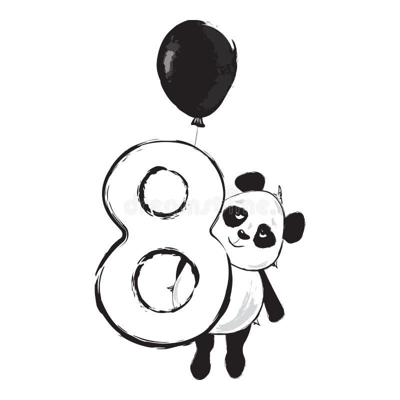 Panda número animal lindo ocho del oso con el ejemplo del bebé de la historieta libre illustration