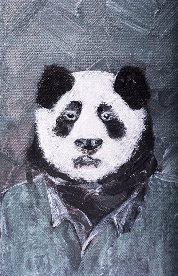 Panda nella pittura del vestito sul fondo del tweed fotografia stock