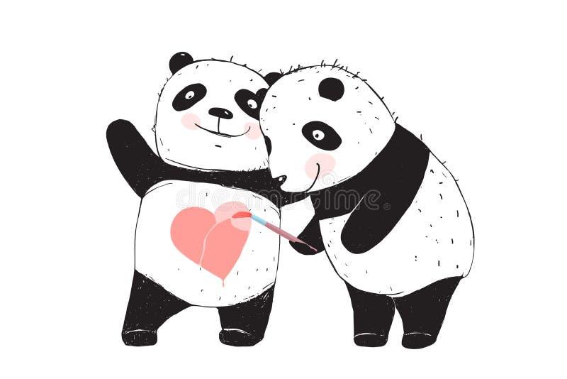 Panda niedźwiedź Rysuje miłości serce ilustracji
