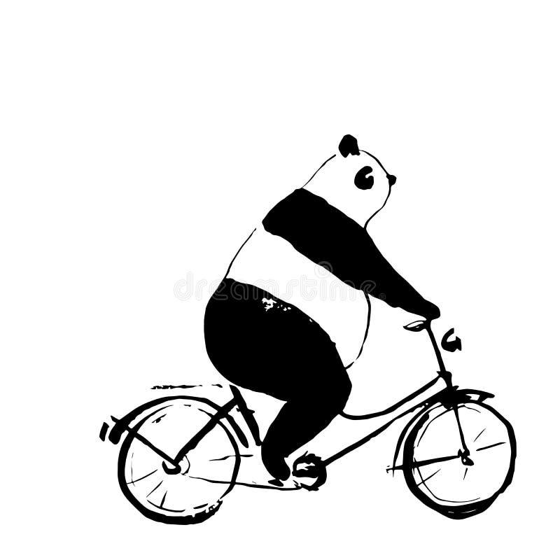 Panda niedźwiedź na rowerowej ilustraci royalty ilustracja