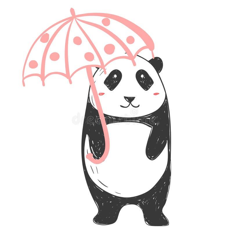 Panda niedźwiedź z różowym parasolem Ilustracja o zwierzętach dla dziecko projekta Kreskówka styl royalty ilustracja