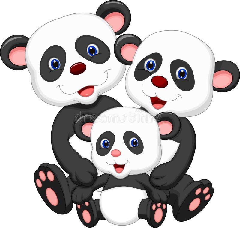 Panda niedźwiedzia rodziny kreskówka ilustracja wektor