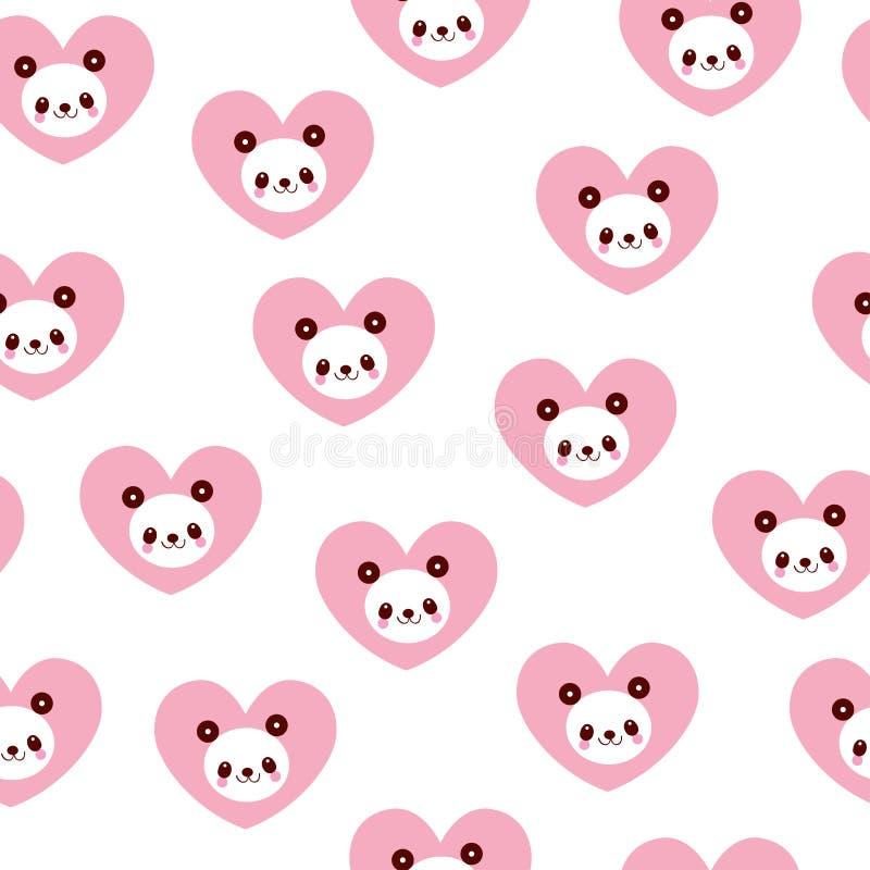 Panda niedźwiedzie i serce bezszwowy wzór ilustracji