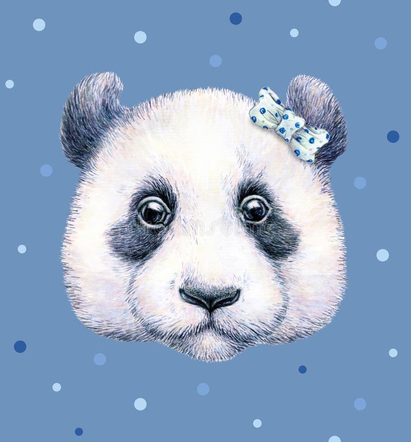 Panda no fundo azul Desenho da aguarela Ilustração das crianças Handwork ilustração do vetor