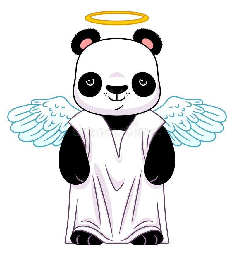 Panda no terno do anjo ilustração do vetor