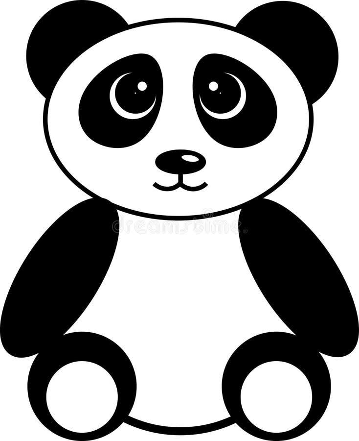 Panda noir et blanc mignon illustration de vecteur