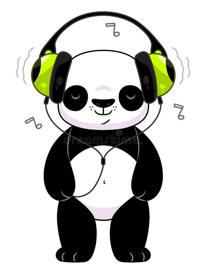 Panda nos fones de ouvido ilustração stock