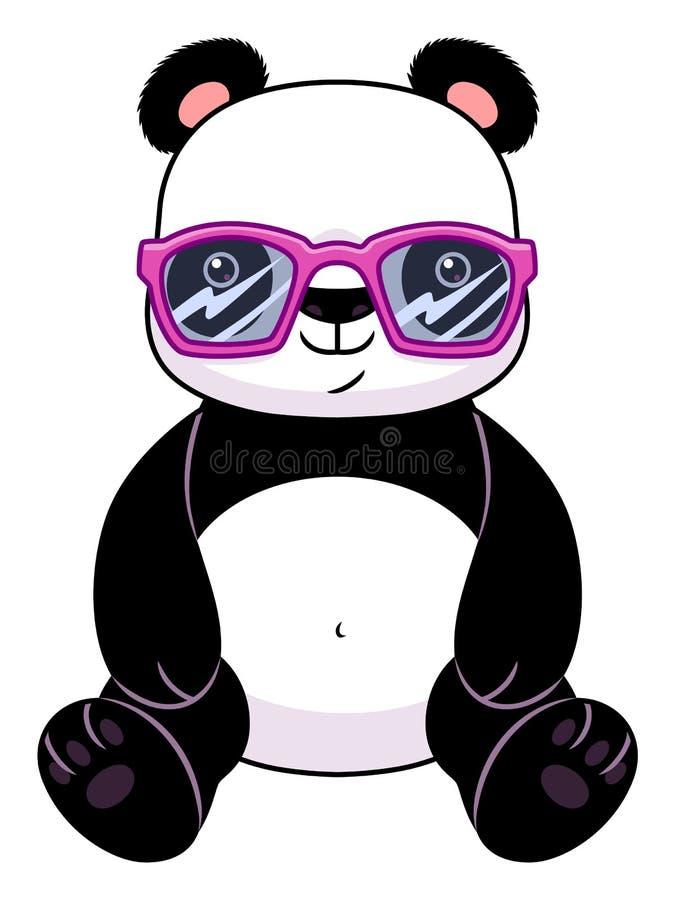 Panda nos vidros ilustração stock