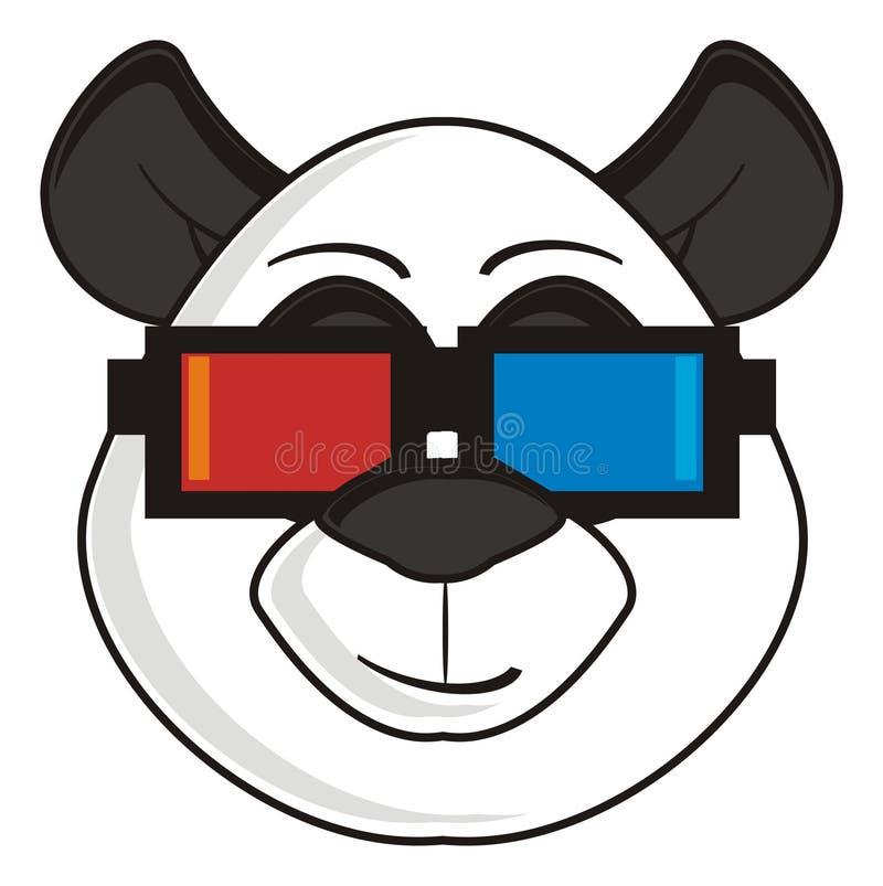 Panda nos vidros 3d ilustração royalty free