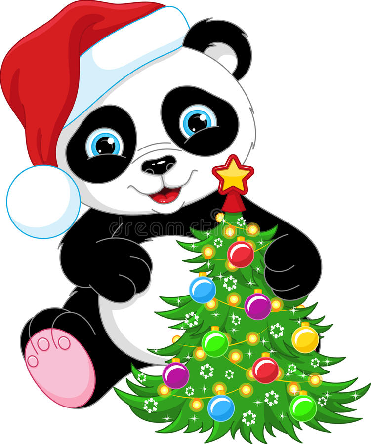 Panda och julgran stock illustrationer