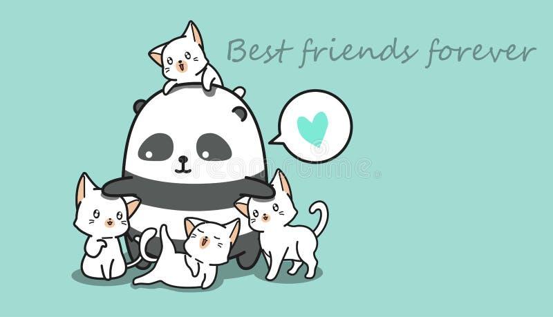 Panda och 4 katter vektor illustrationer