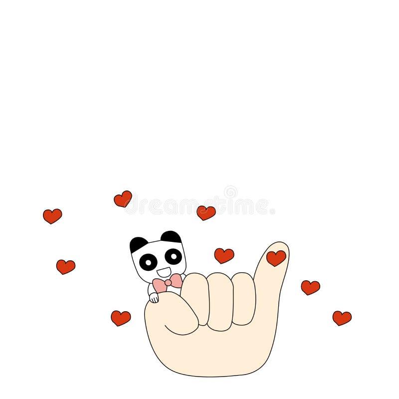Panda och lite finger royaltyfri foto