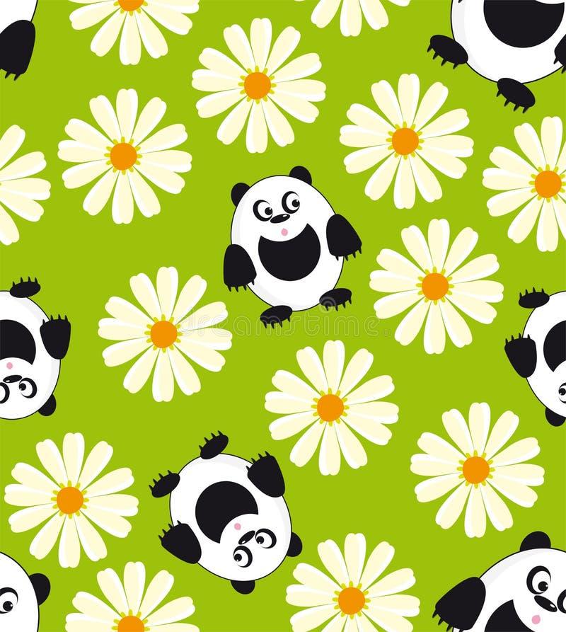 Panda och tusensköna. royaltyfri illustrationer