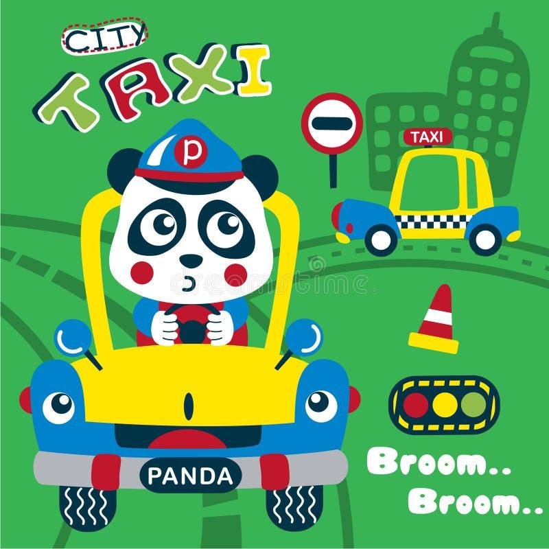 Panda os desenhos animados animais engraçados do taxista ilustração do vetor