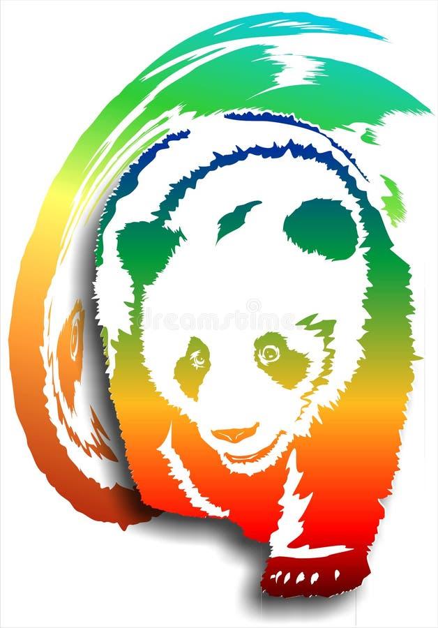 Panda på en abstrakt bakgrund (färg) (Vektor) royaltyfri illustrationer