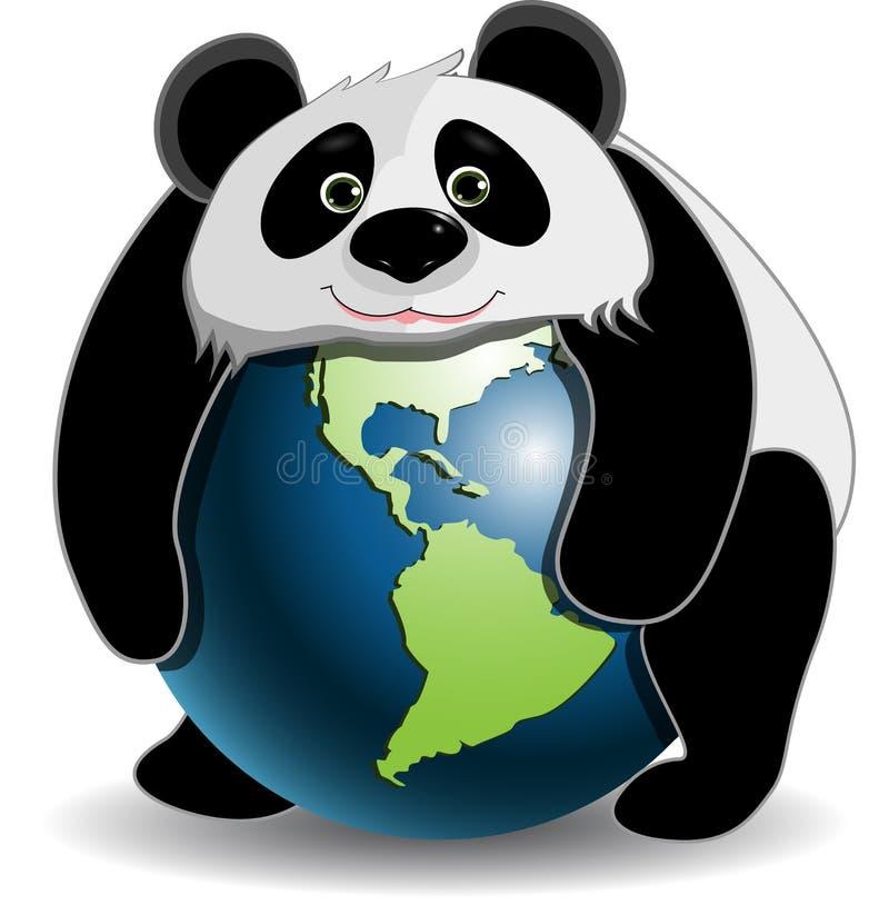 Panda på jordklotet royaltyfri illustrationer