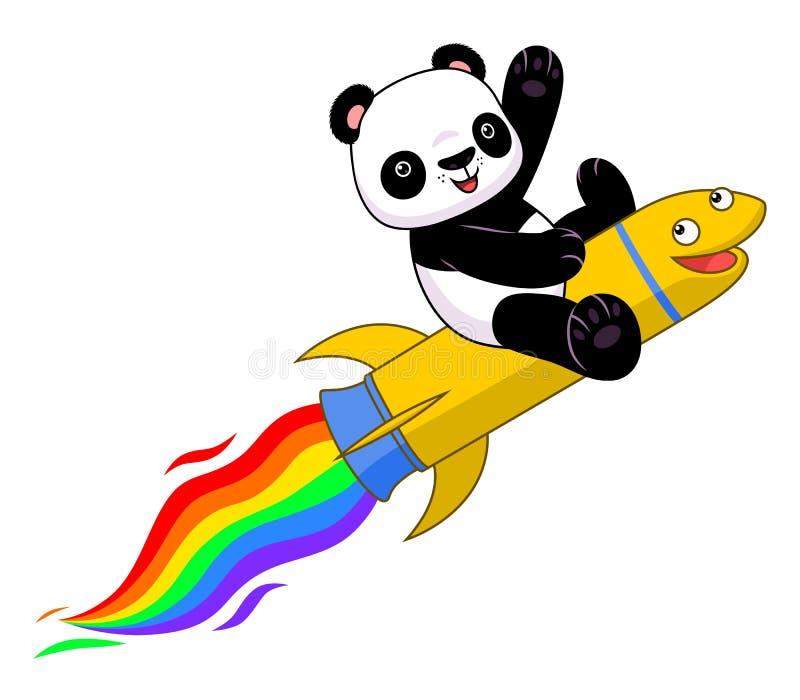 Panda på regnbågeraket vektor illustrationer