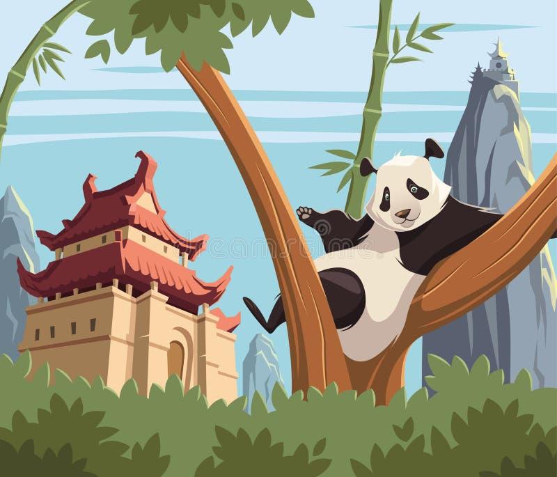 Panda på träd i forntida Kina royaltyfri illustrationer