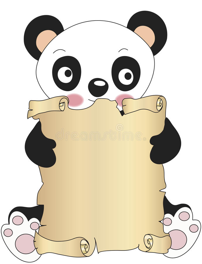 Download Panda with parchment stock illustration. Image of note - 31528138