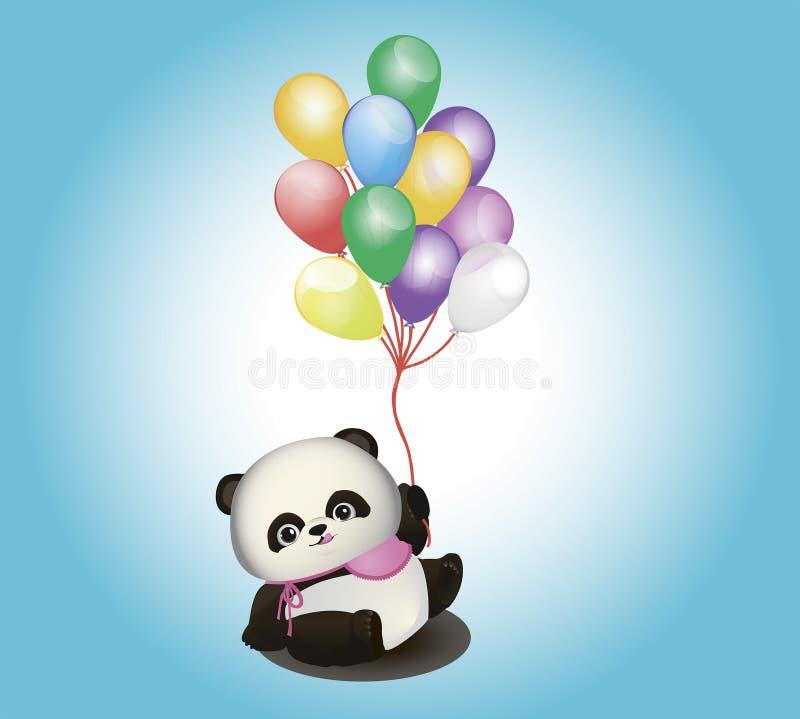Panda pequena com balões fotografia de stock