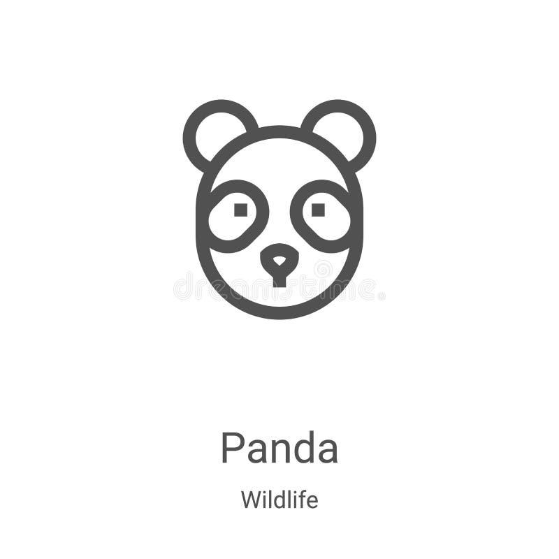 panda-pictogramvector uit wildlife-collectie Thin line panda overzicht pictogramvectorillustratie Lineair symbool voor gebruik op vector illustratie