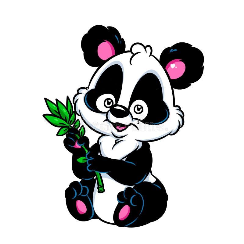 Panda poca historieta de bambú stock de ilustración