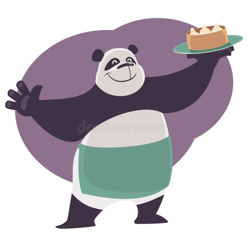 Panda pokazuje tacę z Chińskim karmowym Dim Sum ilustracja wektor
