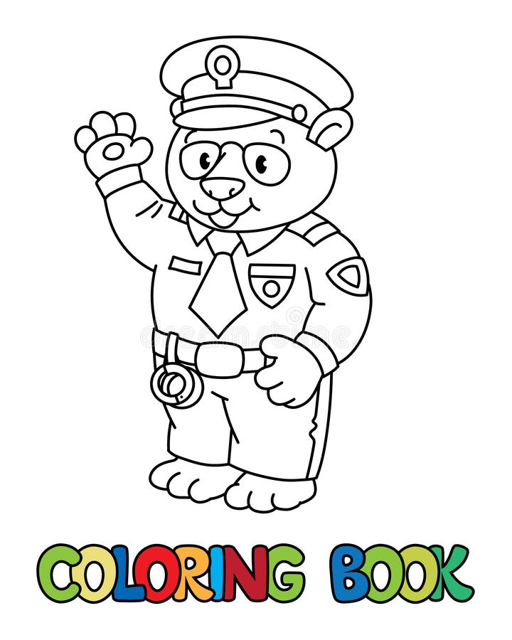 Panda policeman coloring book. Animal Alphabet P royalty free illustration
