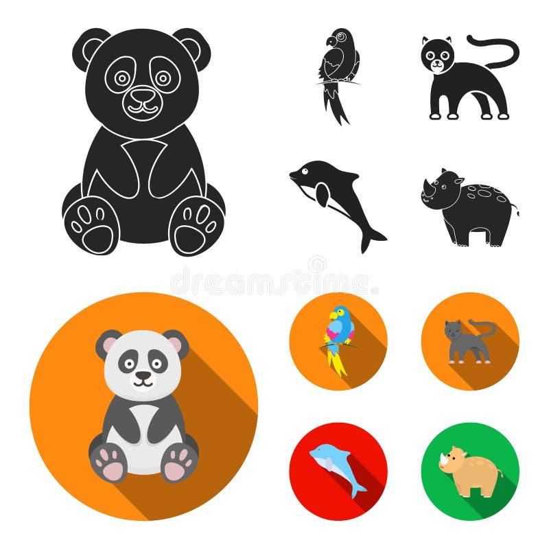 Panda popugay, pantera, delfin Zwierzę ustalone inkasowe ikony w czarnym, mieszkanie symbolu zapasu ilustraci stylowa wektorowa s ilustracja wektor