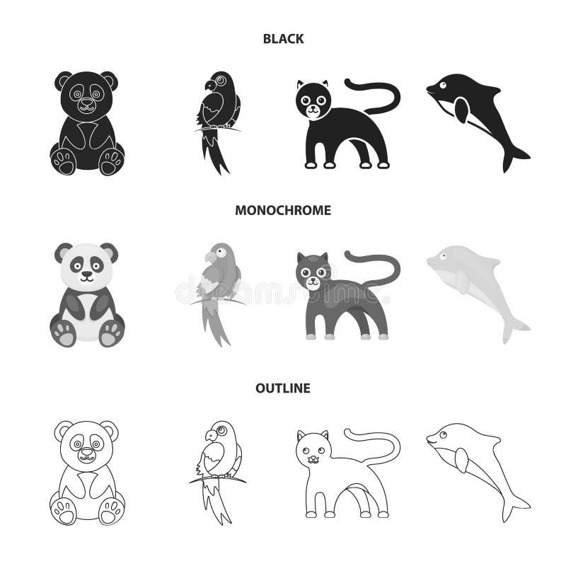 Panda popugay, pantera, delfin Zwierzę ustalone inkasowe ikony w czarnym, monochromatyczny, konturu symbolu stylowy wektorowy zap ilustracja wektor