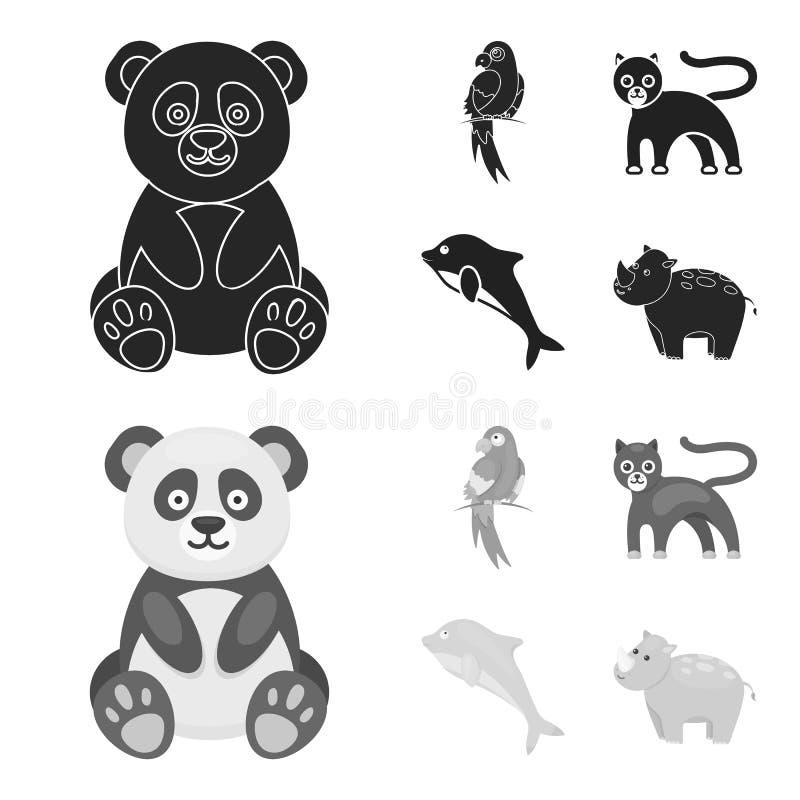 Panda popugay, pantera, delfin Zwierzę ustalone inkasowe ikony w czarnym, monochromu symbolu zapasu stylowa wektorowa ilustracja royalty ilustracja