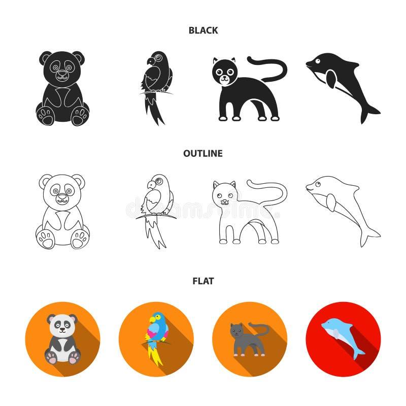 Panda popugay, pantera, delfin Zwierzę ustalone inkasowe ikony w czarnym, płaski, konturu symbolu zapasu stylowa wektorowa ilustr royalty ilustracja